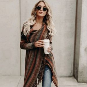 Sweaters - Southwestern Fringed Wrap Sweater, Sz L